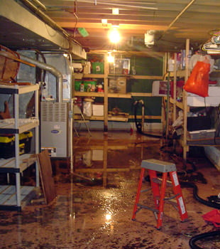 a flooded home in Canton