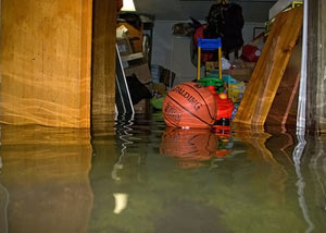 A flooded basement bedroom in New Baltimore